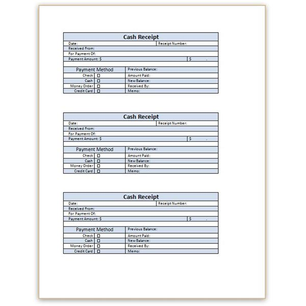 Download a Free Cash Receipt Template for Word or Excel – Printable Receipts for Payment