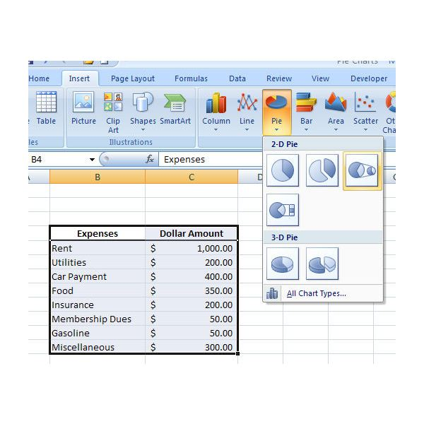 Pie of Pie Charts in Excel 2007 How to Break Out Small Groups of – How to Make a Chart in Word