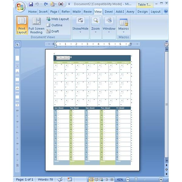 creating a calendar in word