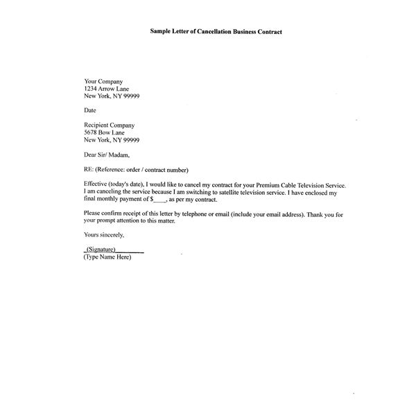 Sample Letter of Cancellation of Business Contract