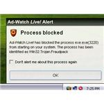 Ad-Aware real-time protection blocks fake MSE alert trojan