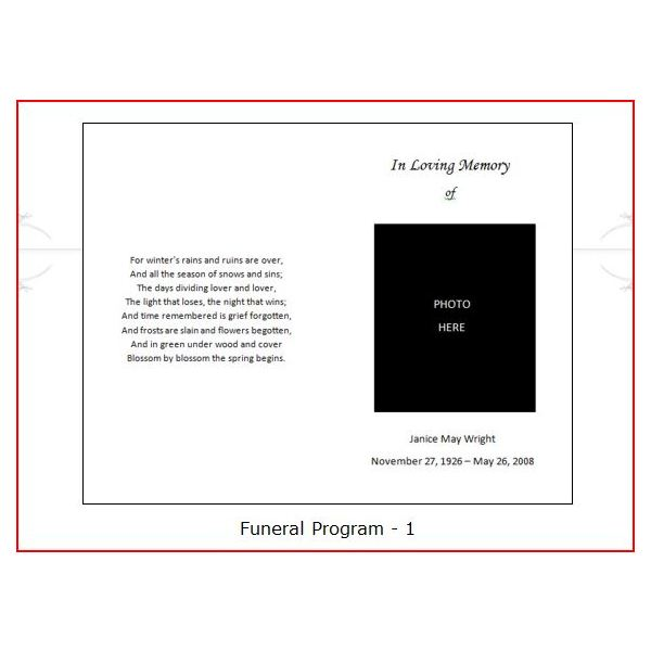 Funeral Programs   Funeral Program Templates  Order Of Service Template Free