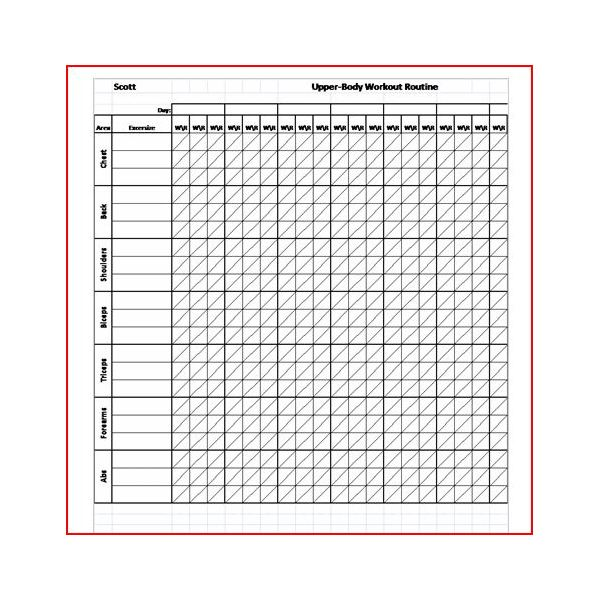Work out charts template