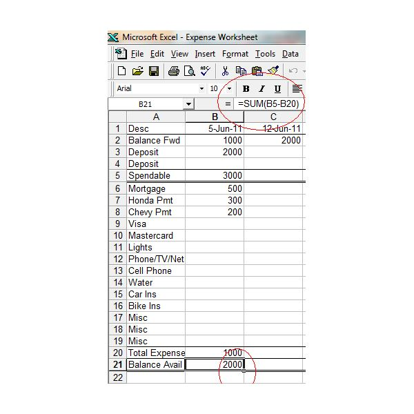 Printables Household Expense Worksheet household expense worksheet how to create a printable budget excel screenshot w bal avail function