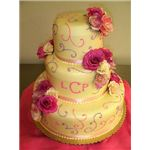 Colorful Three Tiered Wedding Cake by Tracy Hunter Wikimedia Commons