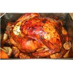 Oven roasted brine-soaked turkey.