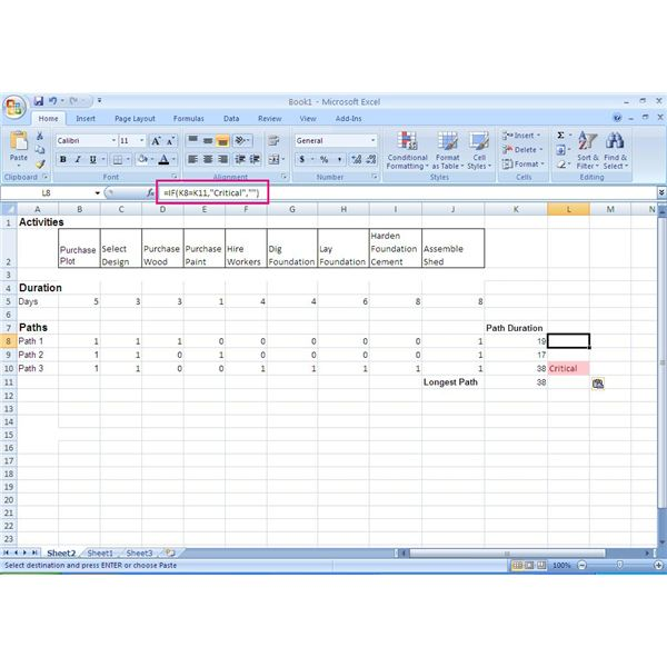 How to use excel in the critical path method cpm