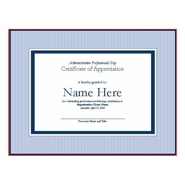sample certificate of appreciation wording.