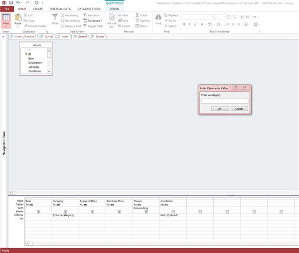 Using the query wizard and query designer in access 2013 for Query design window