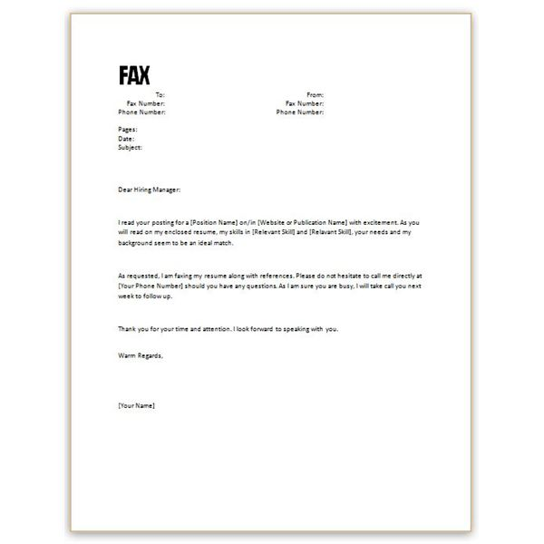 Fax Cover Letter For Resume