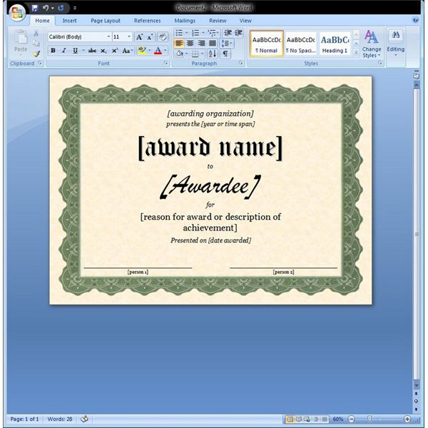 Microsoft Word Template Get Word Templates For Certificate Of – How to Make Certificates in Word