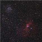 The Bubble Nebula and the M52 Open Cluster at the Upper Left of the Image