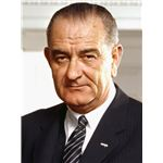 Photo portrait of President Lyndon B. Johnson in the Oval Office