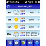 WeatherBug screenshot forecasts