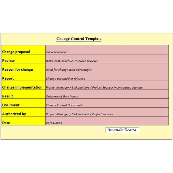 A Project Managers Change Control Document – Change Management Plan Template