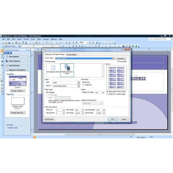 how to create business card in publisher 2010