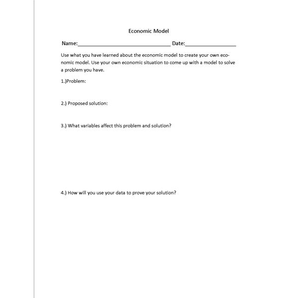 Lesson Plan on the Economic Model with Worksheet – Economic Worksheets