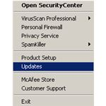 McAfee VirusScan Tray Menu