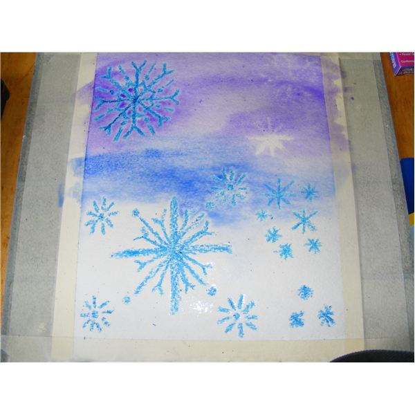 Snowflake elementary artwork a lesson on snow globe painting and