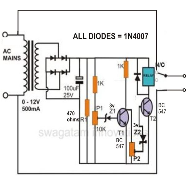66c05bab26dbf0ed24fa783e662f3459b7d18572_large how to build simple mains voltage protection circuits low voltage low voltage relay wiring diagram at crackthecode.co