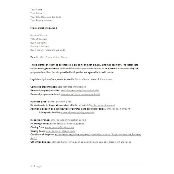real estate letter of intent template real estate