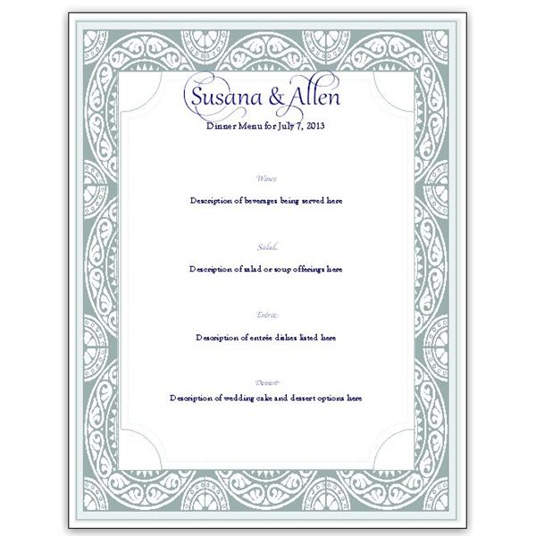 Download a free wedding menu card template diy and save for Wedding menu cards templates for free