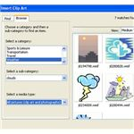 Microsoft Works Beginner - inserting pictures and clipart - clipart box