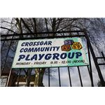Crossgar Community Playgroup sign by Ardfern/Wikimedia Commons (CC/GNU)