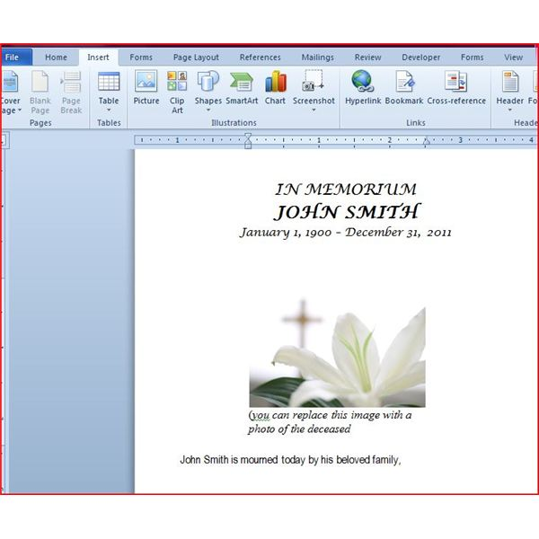 Funeral Program With Inserted Image · Funeral Program Without Inserting  Image  Free Funeral Program Template Microsoft Word