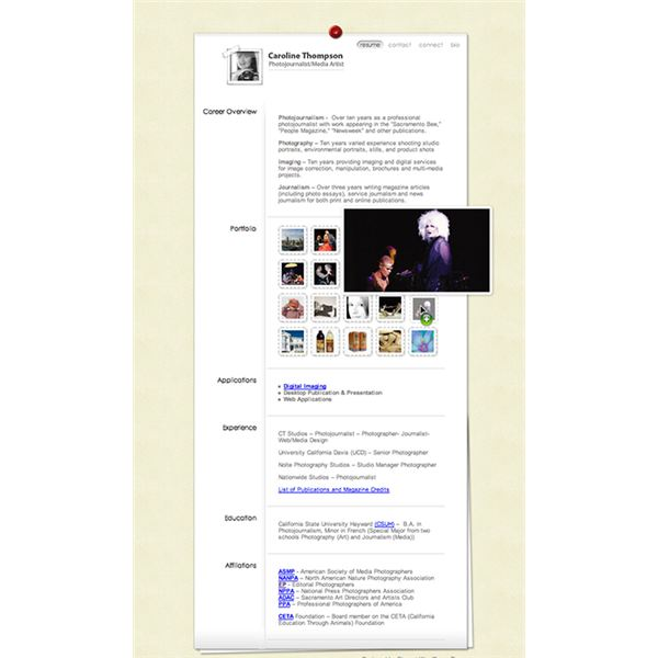 website resume portfolio cutaway photographers website - Photographer Resume