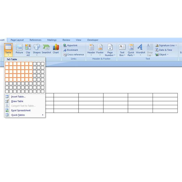 How to create a basic table in microsoft word 2007 for Table design ms word