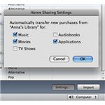 iTunes Home sharing Import