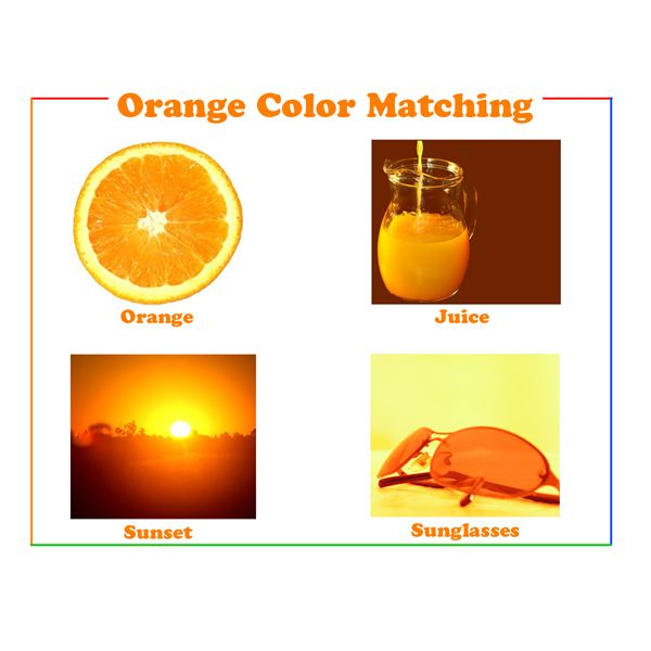 Color word flash cards for teaching young children the for Orange colour things