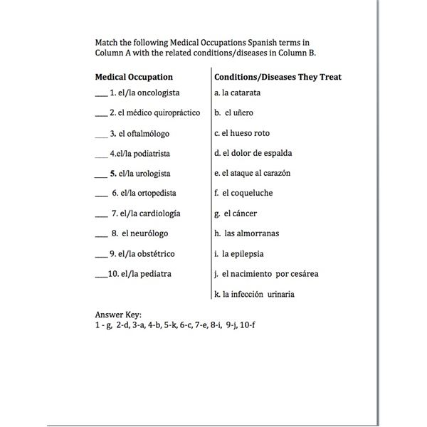 Spanish Terms Identifying for Medical Professions Including Quizzes – Printable Medical Terminology Worksheets