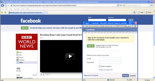 A Clickjacking Attack on a Facebook Account