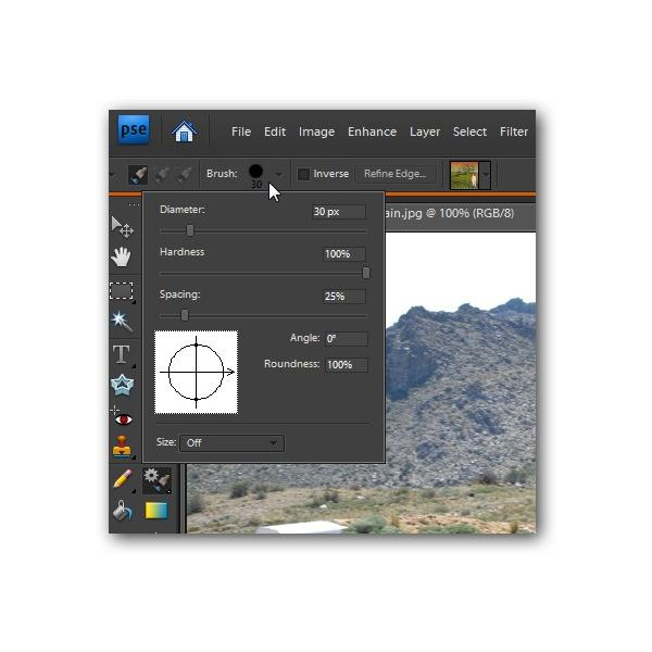 photoshop how to change brush size