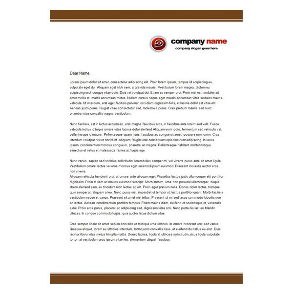 Charming Brown Letterhead Classic Templates Of Business ... Ideas Business Letterhead Samples