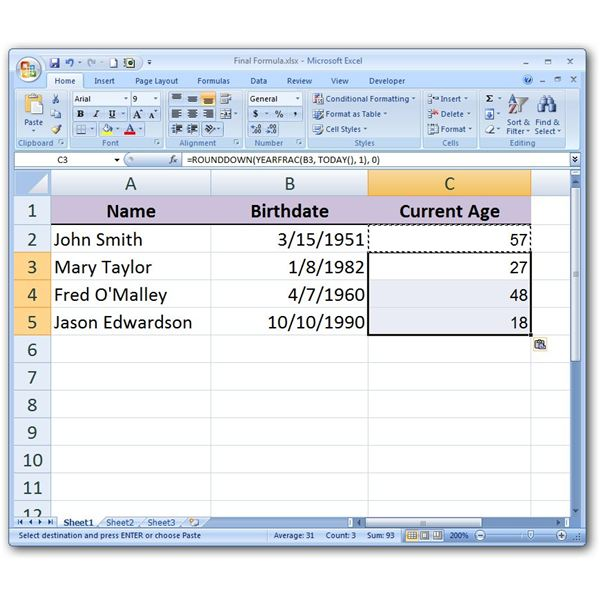 How to Calculate a Person's Current Age in Microsoft Excel