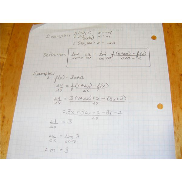 Examples of finding the derivative using the delta process