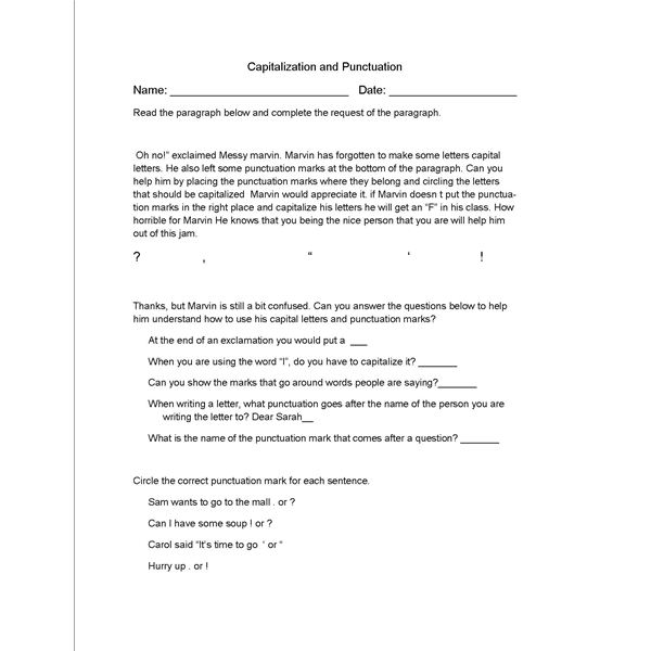 Printables Capitalization And Punctuation Worksheets english lesson plan punctuation and capitalization worksheet