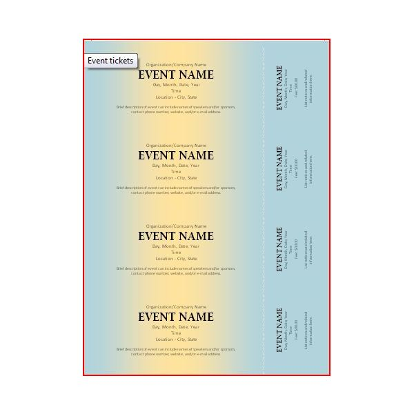 The Best Event Ticket Template Sources – Microsoft Word Ticket Template