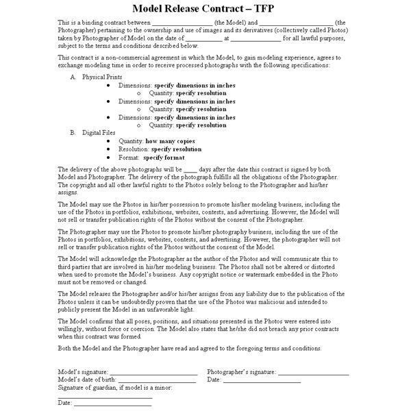 What is a TFP or Time for Prints contract?