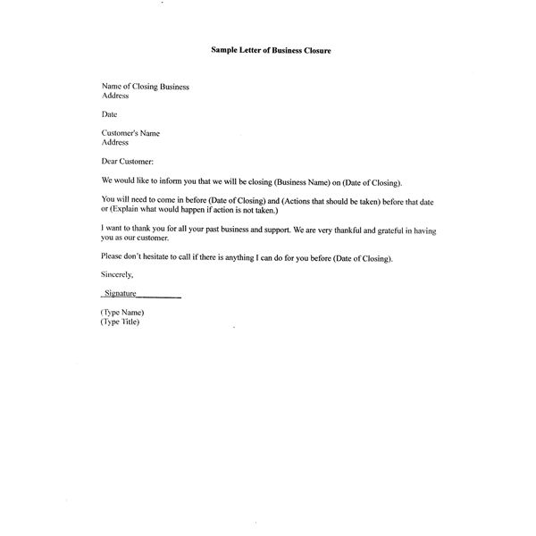 Sample Letter of Business Closure