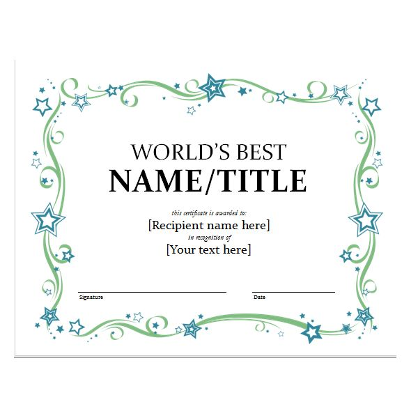 certificate template word – Word Templates Certificates