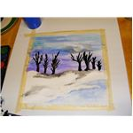 Try black trees as silhouettes