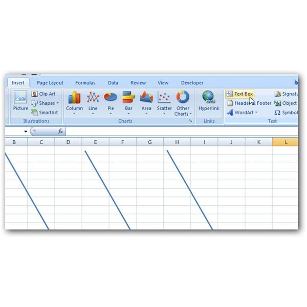 How to create a fishbone diagram in microsoft excel 2007 add text box ccuart Choice Image