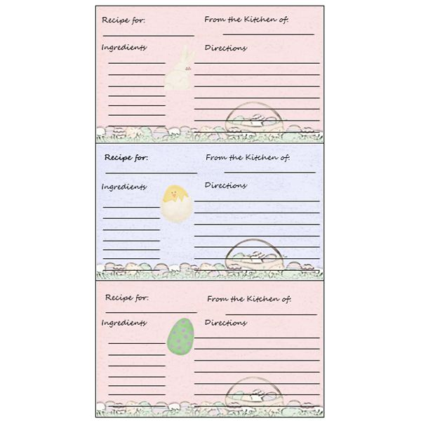 Easter Recipe Card Template  Free Card Templates For Word