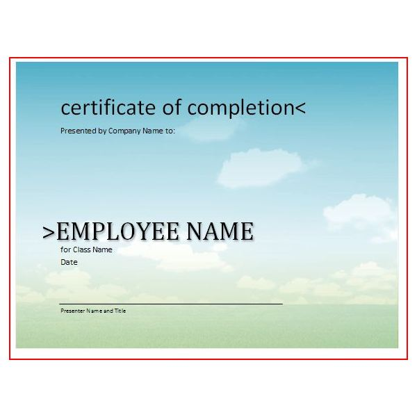 Free Printable Award Certificates10 Great Options for a Wide – Certificate of Completion of Training Template