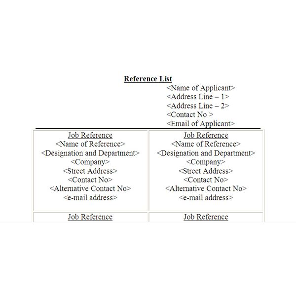 ... Job Reference List Format