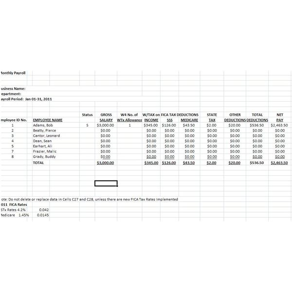 Downloadable Free Payroll Deductions Worksheet Using the Wage – Pay Roll Format